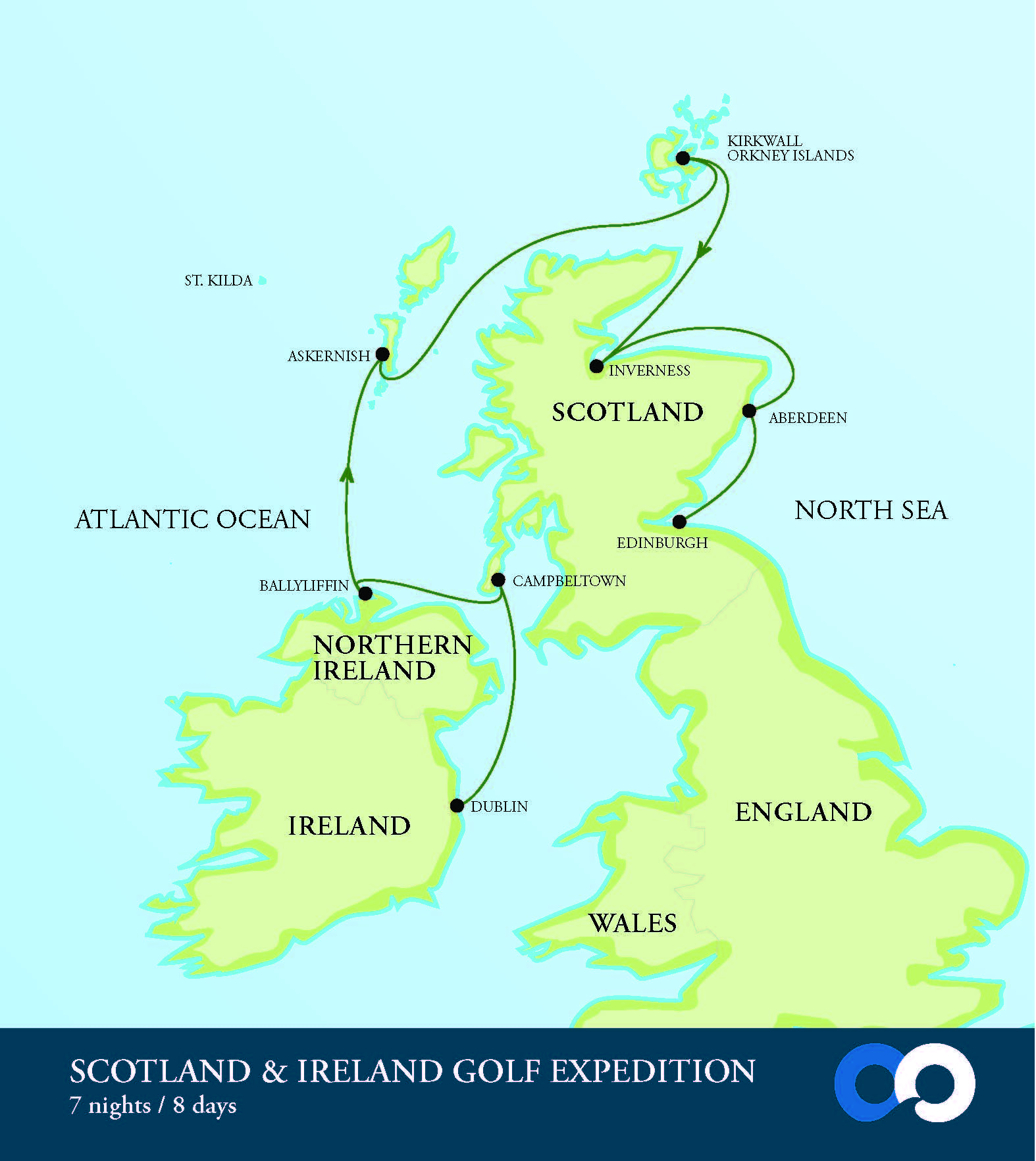 OO Scotland Ireland Golf Map