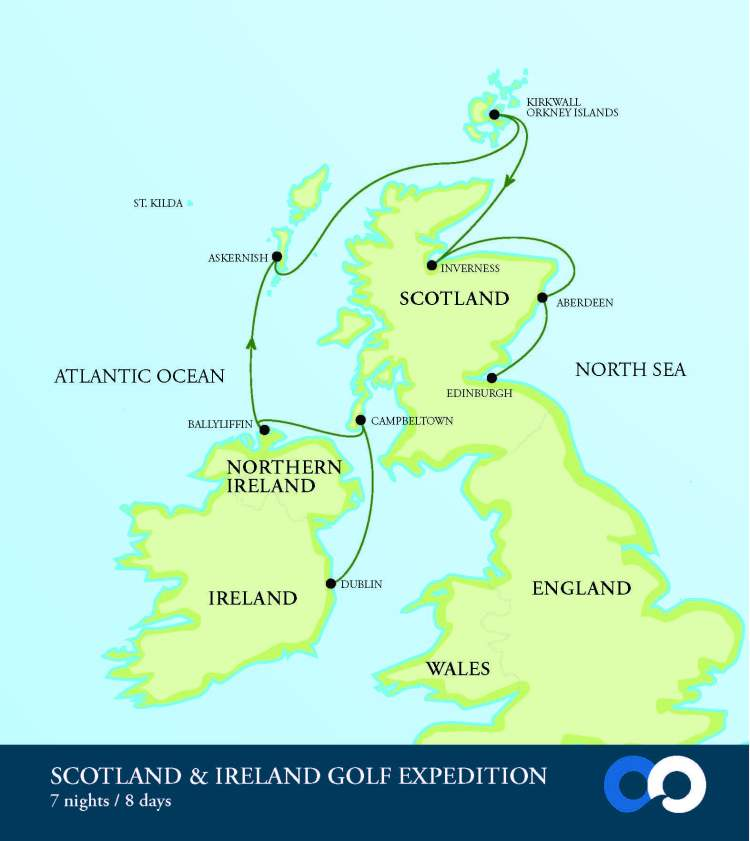 OO Scotland Ireland Golf Map